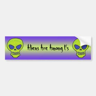 Green Alien Skull Bumper Sticker