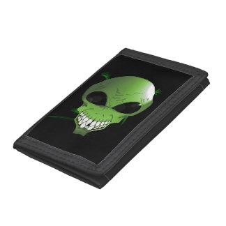 Green alien TriFold Nylon Wallet