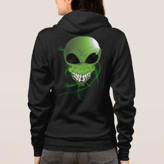 Green alien Women's Bella+Canvas Full-Zip Hoodie