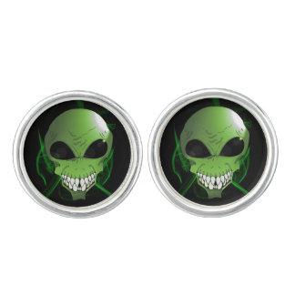 Green aliens Round Cufflinks, Silver Plated Cuff Links