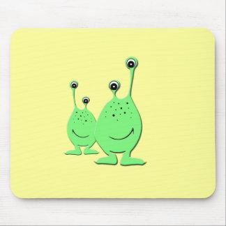Green Aliens, UFO, Little Green Men Mouse Pads