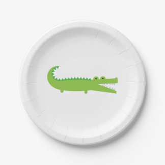 Green Alligator Paper Plate