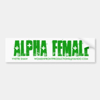 GREEN ALPHA FEMALE BUMPER STICKER