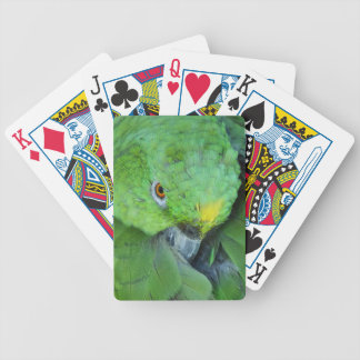 Green Amazon Parrot Bicycle Playing Cards