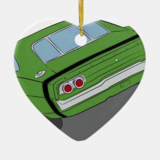Green american muscle car ceramic heart ornament