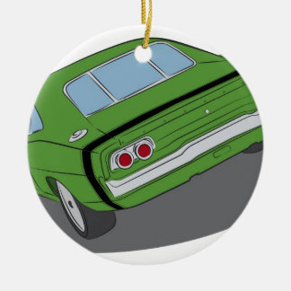 Green american muscle car round ceramic ornament