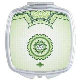 Green Anahata, 4th Chakra Compact Mirror