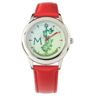 GREEN ANCHOR WITH FISH NAUTICAL MONOGRAM Pink Gems Watch