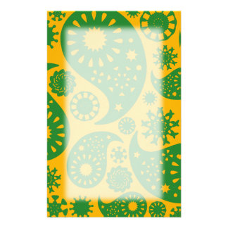 Green and Amber Yellow Paisley Pattern. Stationery Paper