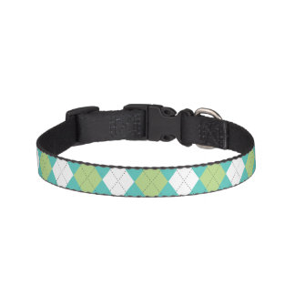 Green and Aqua Argyle Pattern Pet Collar