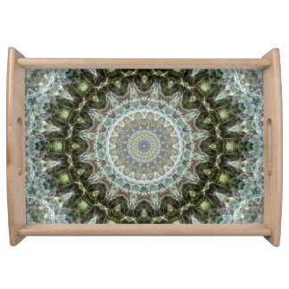 Green and Aqua Mandala Art Serving Tray