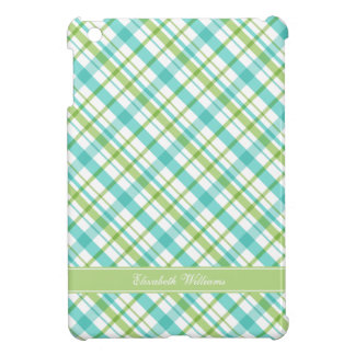 Green and Aqua Plaid Pattern Cover For The iPad Mini