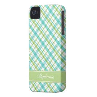 Green and Aqua Plaid Pattern iPhone 4 Covers