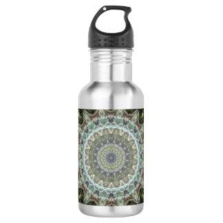 Green and Aqua Rectangular Mandala Art 532 Ml Water Bottle