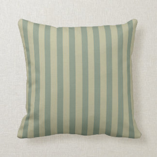 Green and Beige Coordinated Stripes Throw Pillow