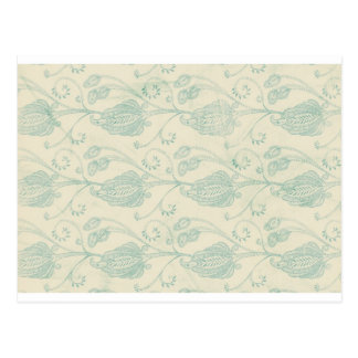 Green and Beige Paisley Print Postcard