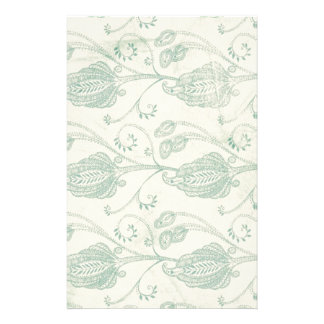 Green and Beige Paisley Print Stationery