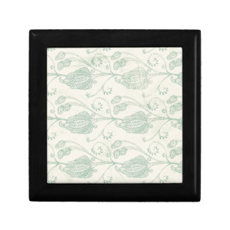 Green and Beige Paisley Print Trinket Box