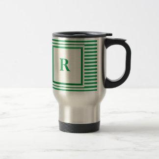 Green and Beige Striped R monogram Travel Mug