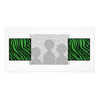Green and black abstract stripes pattern. customized photo card