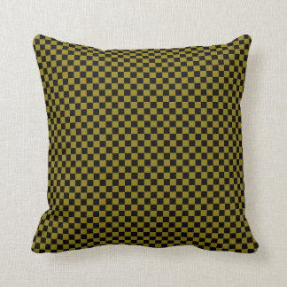 Green and Black Checkered Throw Pillow