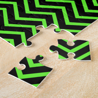 Green and Black Chevron Jigsaw Puzzle