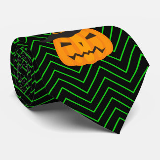 Green and Black Chevrons With Scowling Pumpkin Tie