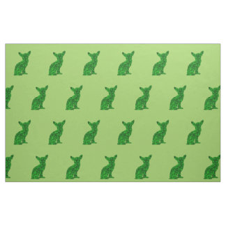 Green and Black Chihuahua Silhouette Fabric