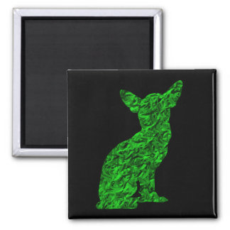 Green and Black Chihuahua Silhouette Square Magnet