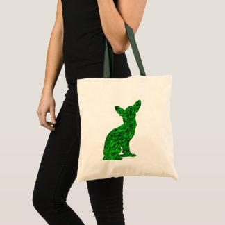 Green and Black Chihuahua Silhouette Tote Bag