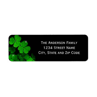 Green and Black Clover Return Address Label