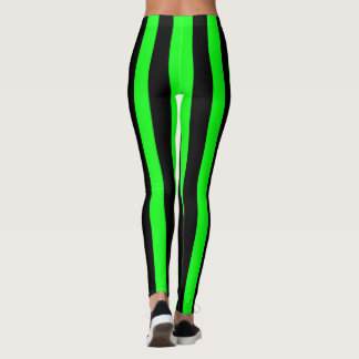 Green and Black Coloured striped pattern Leggings