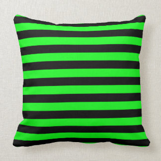 Green and Black Coloured striped pattern Throw Pillow