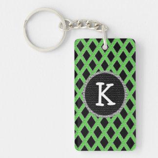 Green and black crisscross monogram keychain