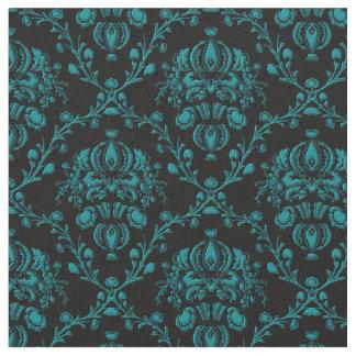 Green and Black Damask Print Fabric