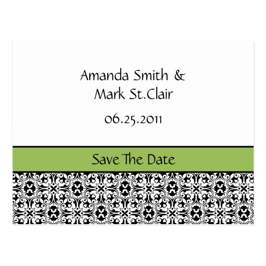 Green and Black Damask Save The Date Postcard
