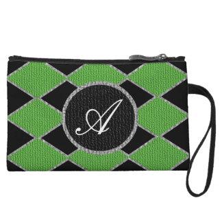 Green and black diamond monogram sparkle clutch wristlets