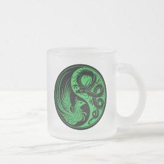 Green and Black Dragon Phoenix Yin Yang Coffee Mugs