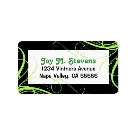 Green and Black Festive Address Label
