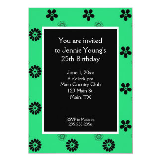 Green and Black Floral Women's Invitation