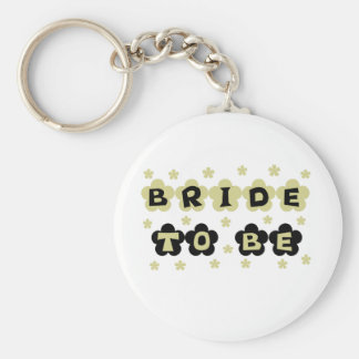 Green and Black Flowers Bride to Be Keychain