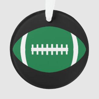 Green and Black Football Christmas Ornament