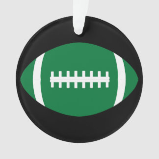 Green and Black Football Player Christmas Ornament