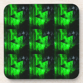 Green and Black Geometrical Abstract Pattern Coaster