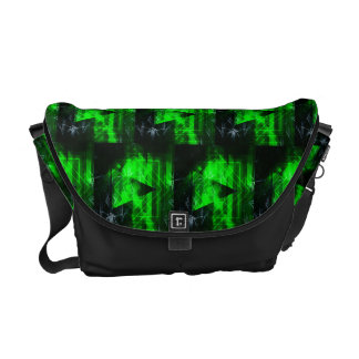 Green and Black Geometrical Abstract Pattern Courier Bag