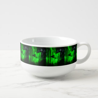 Green and Black Geometrical Abstract Pattern Soup Mug