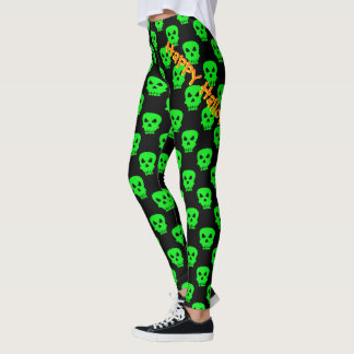 Green and Black Happy Halloween Skull Pattern Leg Leggings