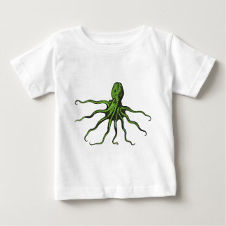 Green and Black Illustrated Octopus Tshirts