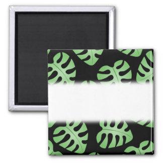Green and Black Leaf Pattern Magnet