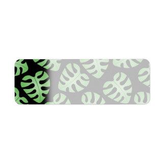 Green and Black Leaf Pattern. Return Address Label